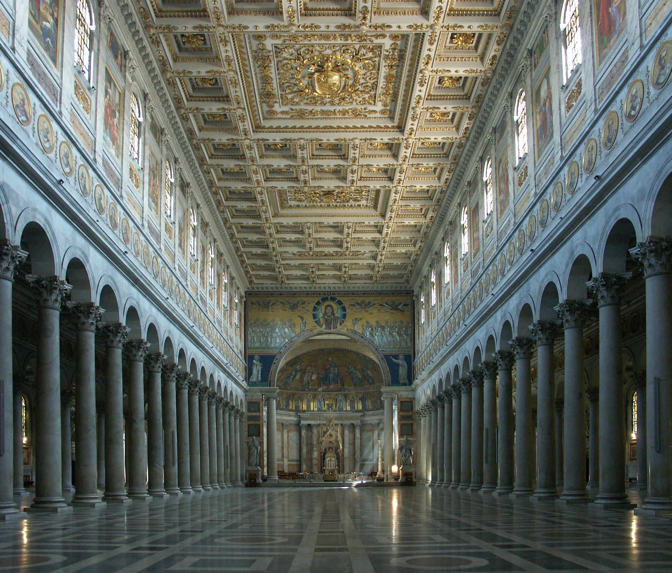 File Rom Sankt Paul Vor Den Mauern San Paolo Fuori Le Mura Innenansicht 1 Jpg Wikimedia Commons