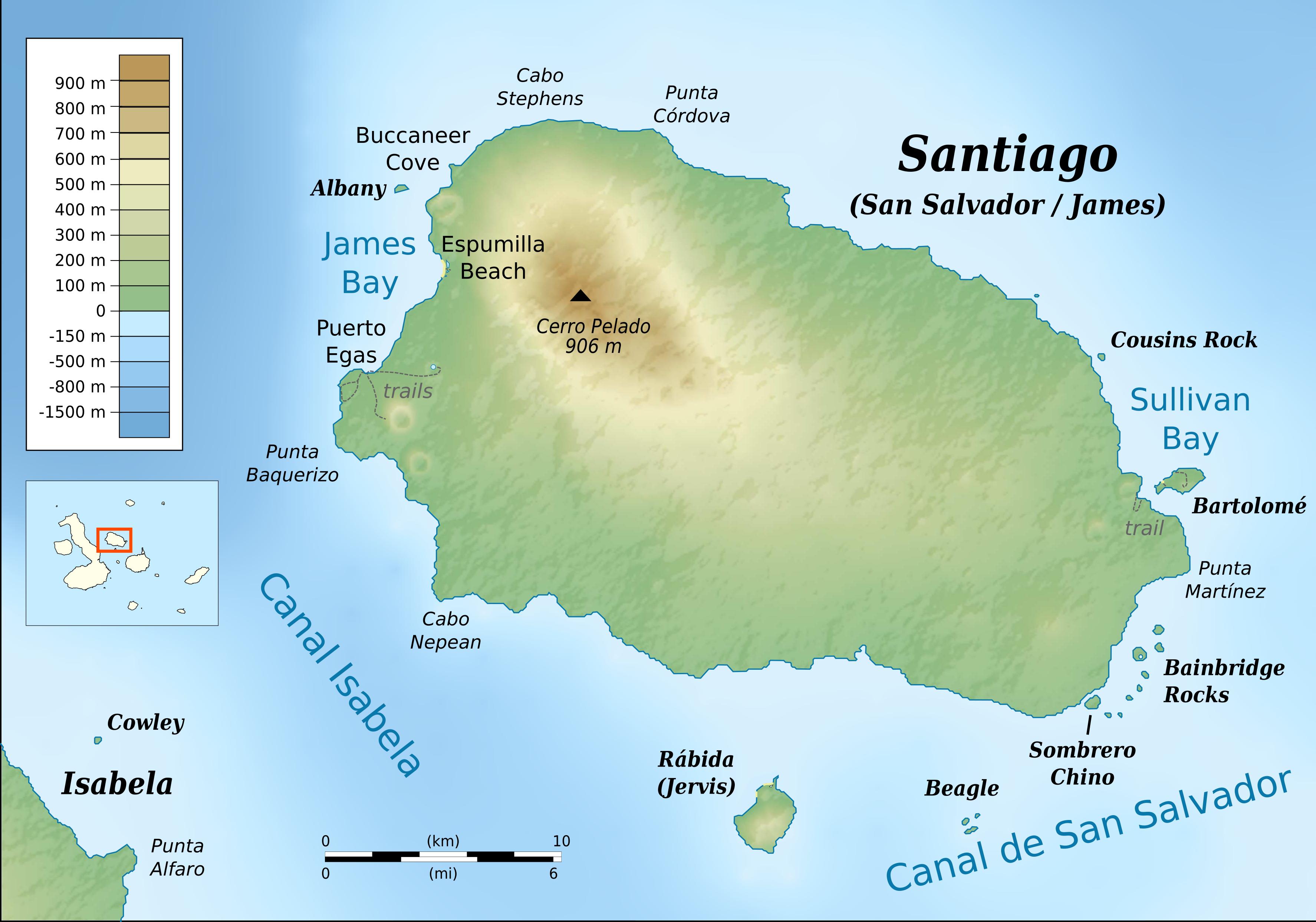 File:Santiago (Galapagos) topographic map-en.png - Wikimedia ... on puerto ayora, pinta island, amazon map, puerto baquerizo moreno, yucatan peninsula map, brazilian highlands map, cuba map, oman map, isabela island, bahamas map, lesser antilles map, ha long bay, genovesa island, puerto rico map, charles darwin research station, nameless island, greenland map, galapagos national park, cape horn map, strait of magellan map, patagonia map, japan map, darwin island, ecuador map, bay of fundy, pampas map, canada map, tierra del fuego map, pacific map, fernandina island, baltra island, lake titicaca map, floreana island, falklands map,