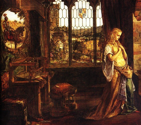 An image of 'The Lady of Shalott' by WM Egley (1858).