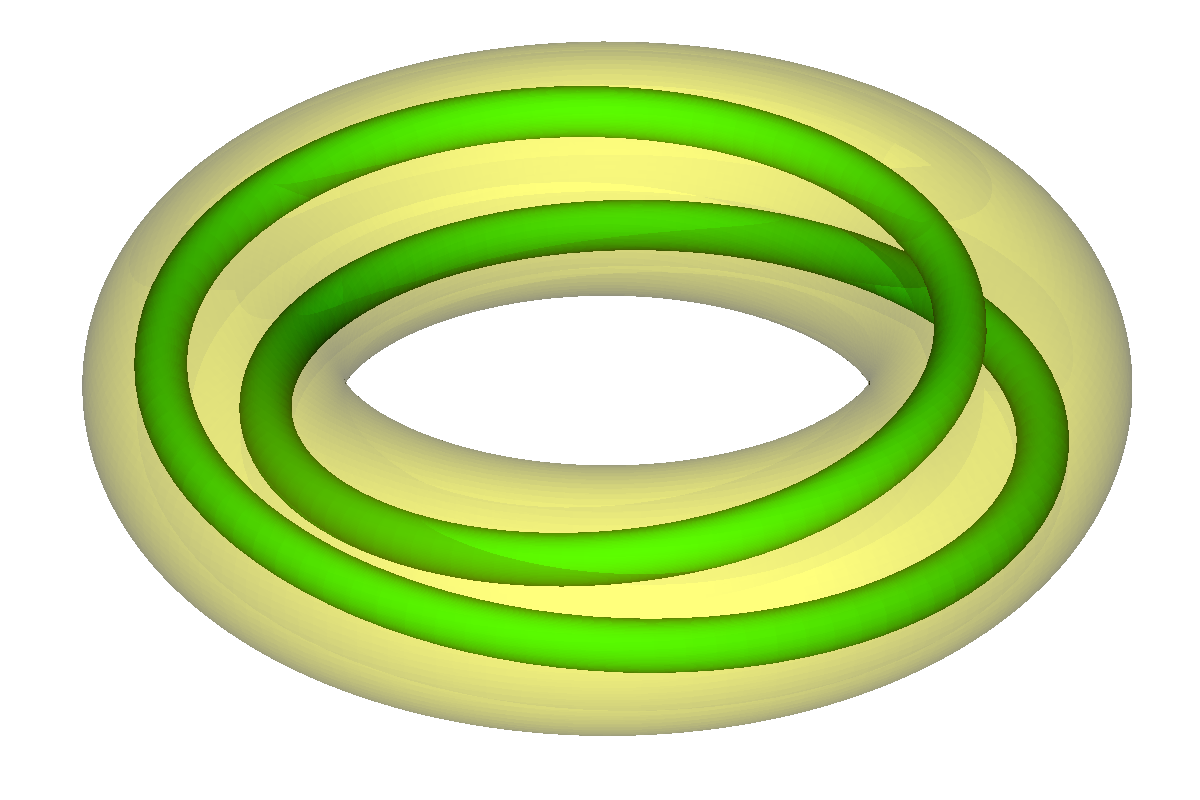 A torus turning twice inside another.