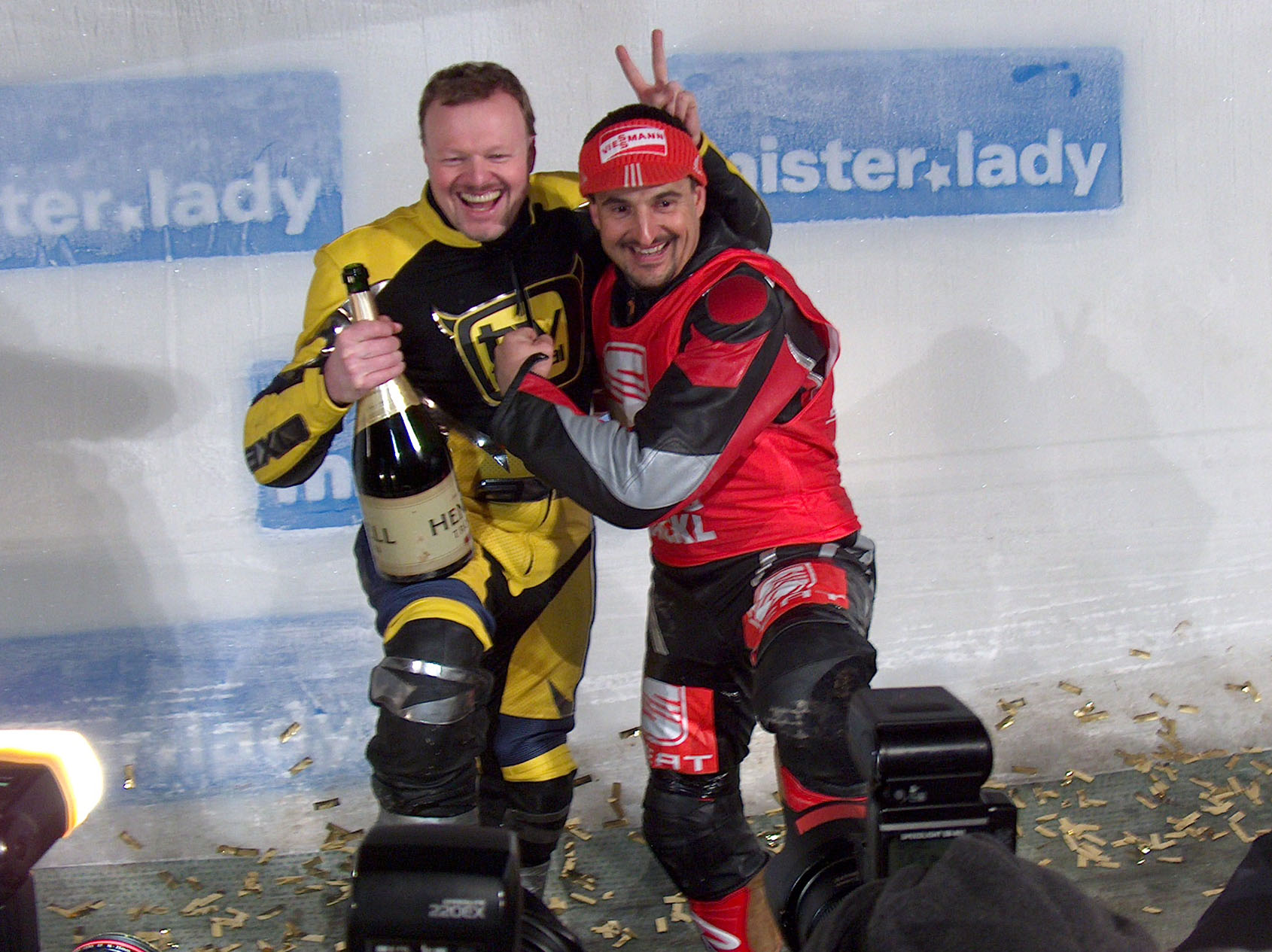Photo of Stefan Raab & his friend  Georg Hackl