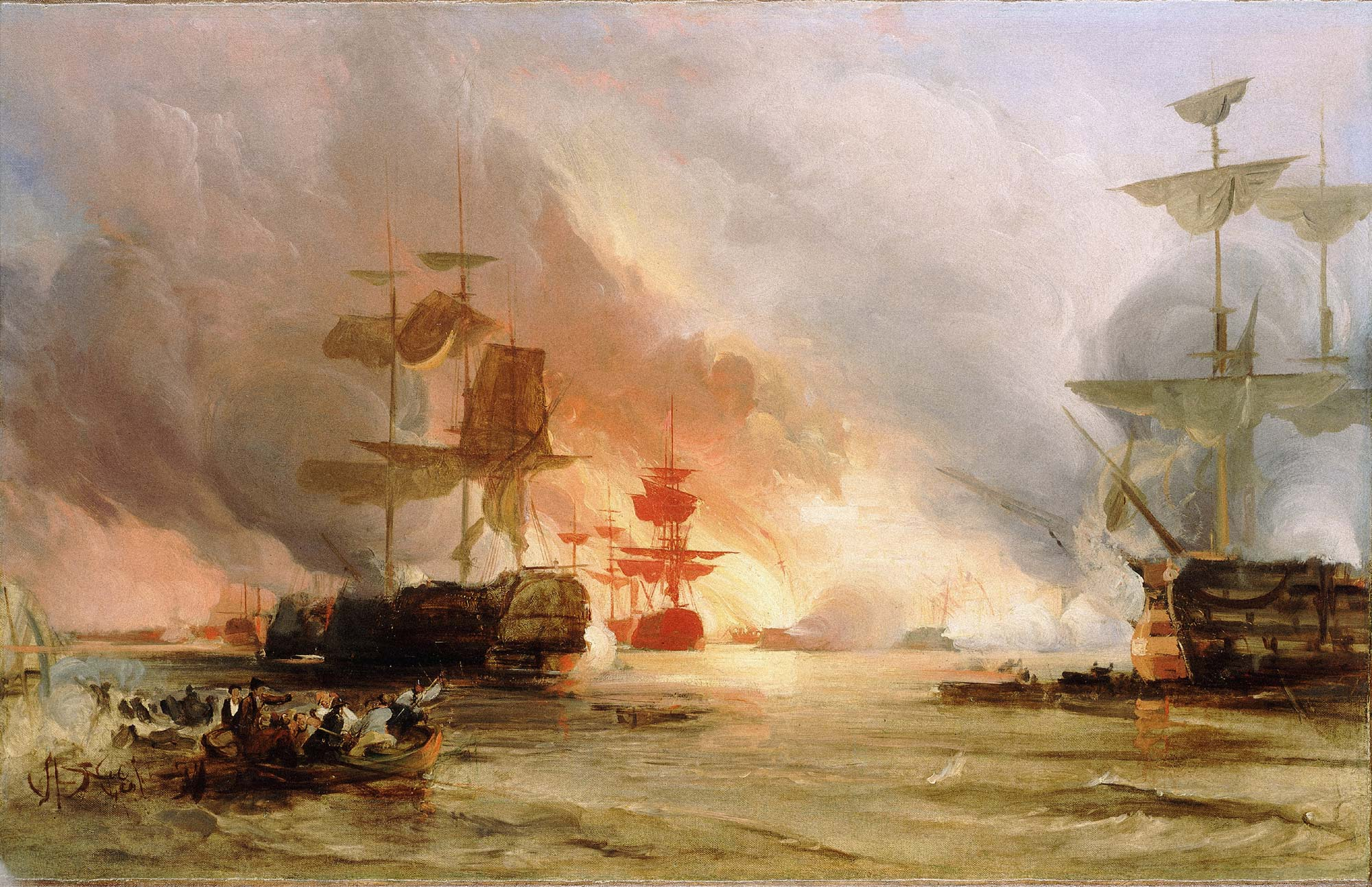 The Bombardment of Algiers, August 27, 1816 by George Chambers Senior.
