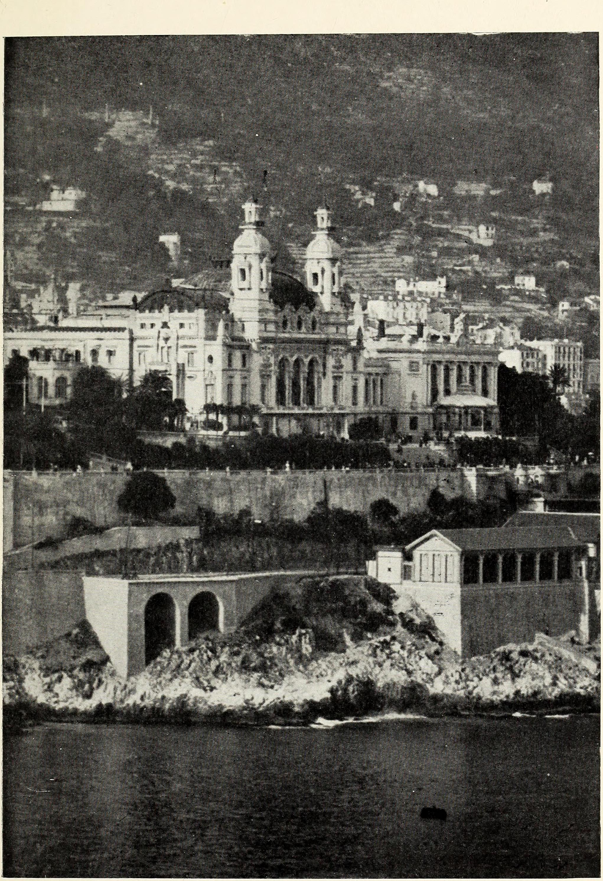 The Monte Carlo Casino from the Sea (1910).jpg English: The Monte Carlo Casino from the Sea (1910) Identifier: romanceofmonacoi00mayn_0 (find