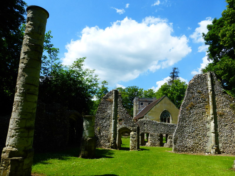 The church at Warnford Park seen from the ruins (geograph 4025847)