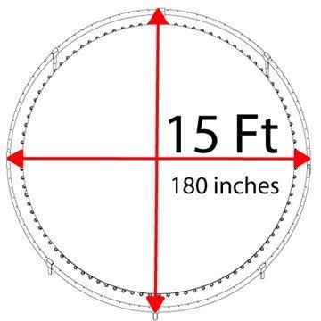 Trampoline frame.jpg English: Diameter of trampoline Date 29 November 2011 Source Own work Author Felhariri3680