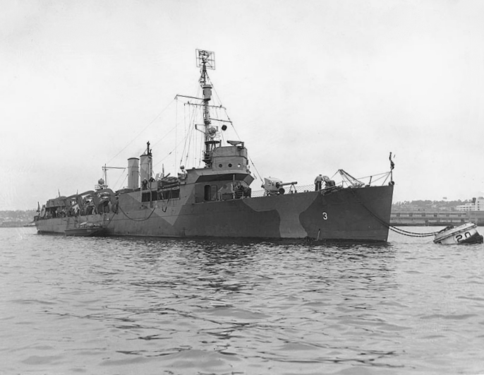 USS Gregory (APD-3), in pattern camouflage