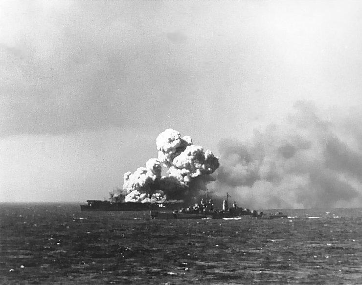 File:USS Princeton (CVL-23) afire.jpg
