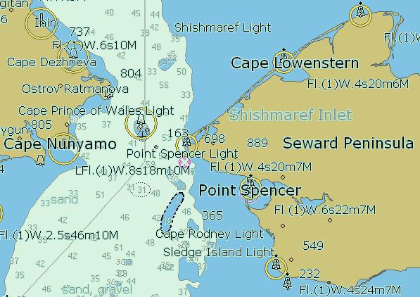 NOAAによるベーリング海峡海図