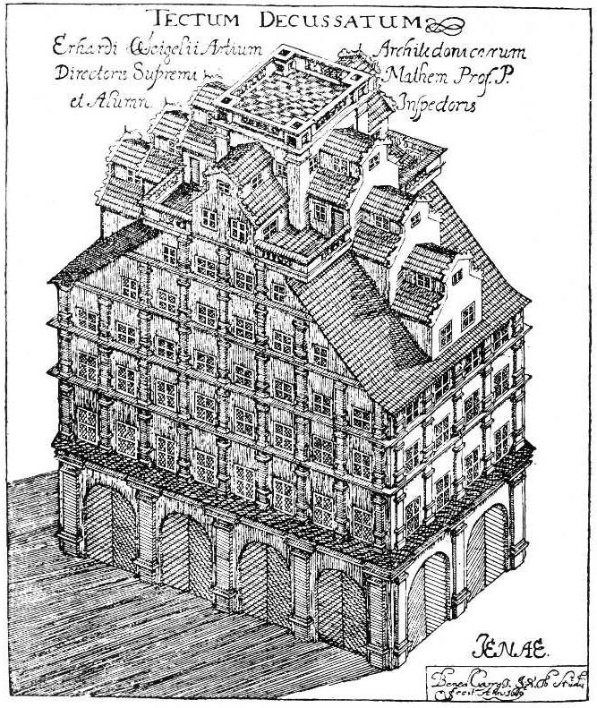 Das Weigelsche Haus in einer schematischen Darstellung von Benedictus Georgi (1669)