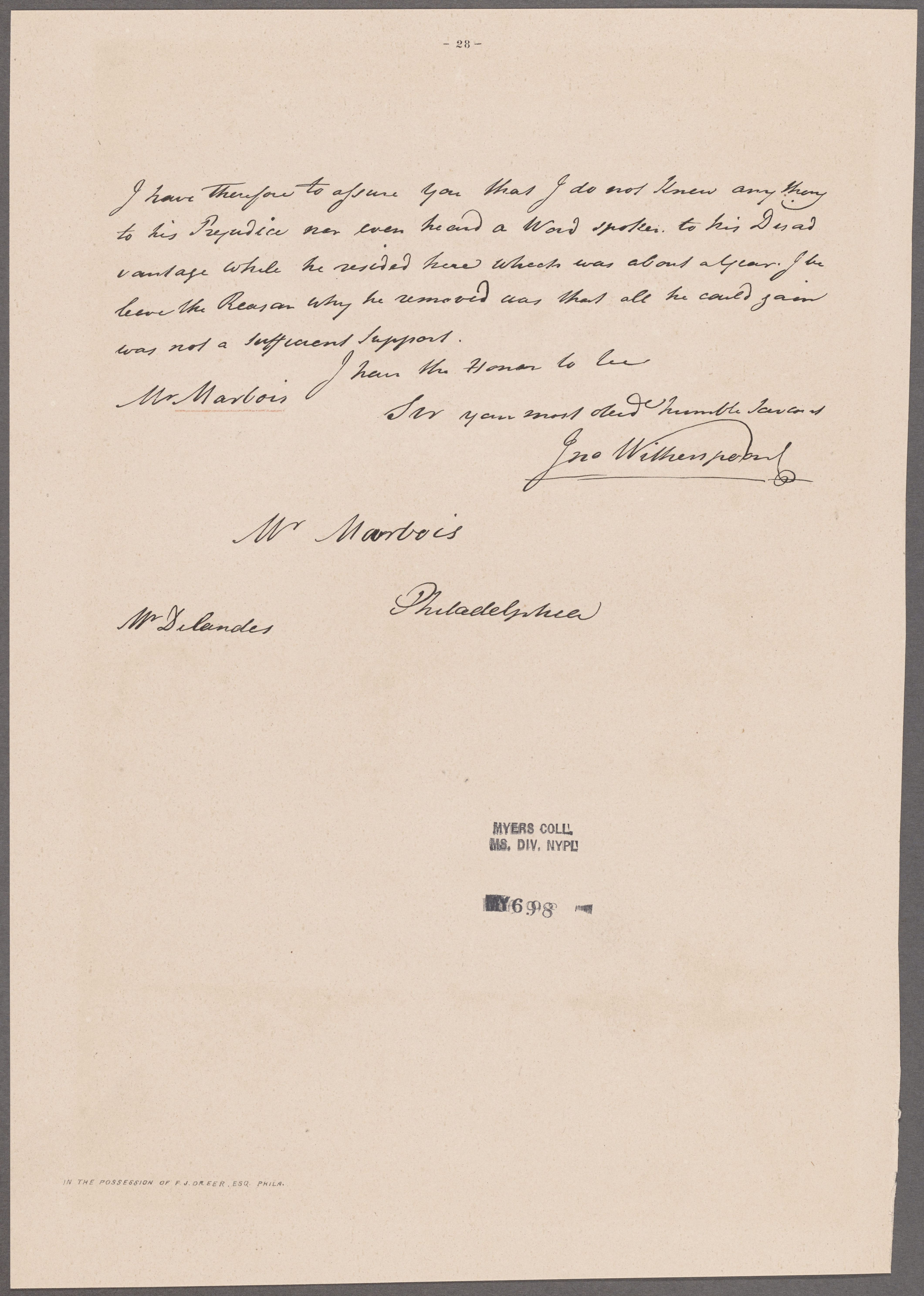 File:Witherspoon, John  Tusculum  To Mr  Marbois (NYPL
