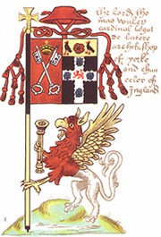 Heraldic banner of Cardinal Thomas Wolsey as Archbishop of York, Lord Chancellor, showing the arms of the See of York impaling his personal arms, with a cardinal's hat above. The griffin supporter holds the Lord Chancellor's Mace Wolsey banner.jpg