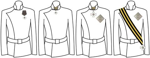 Правила ношения степеней Ордена Св. Георгия (слева направо с 4-й по 1-ю)