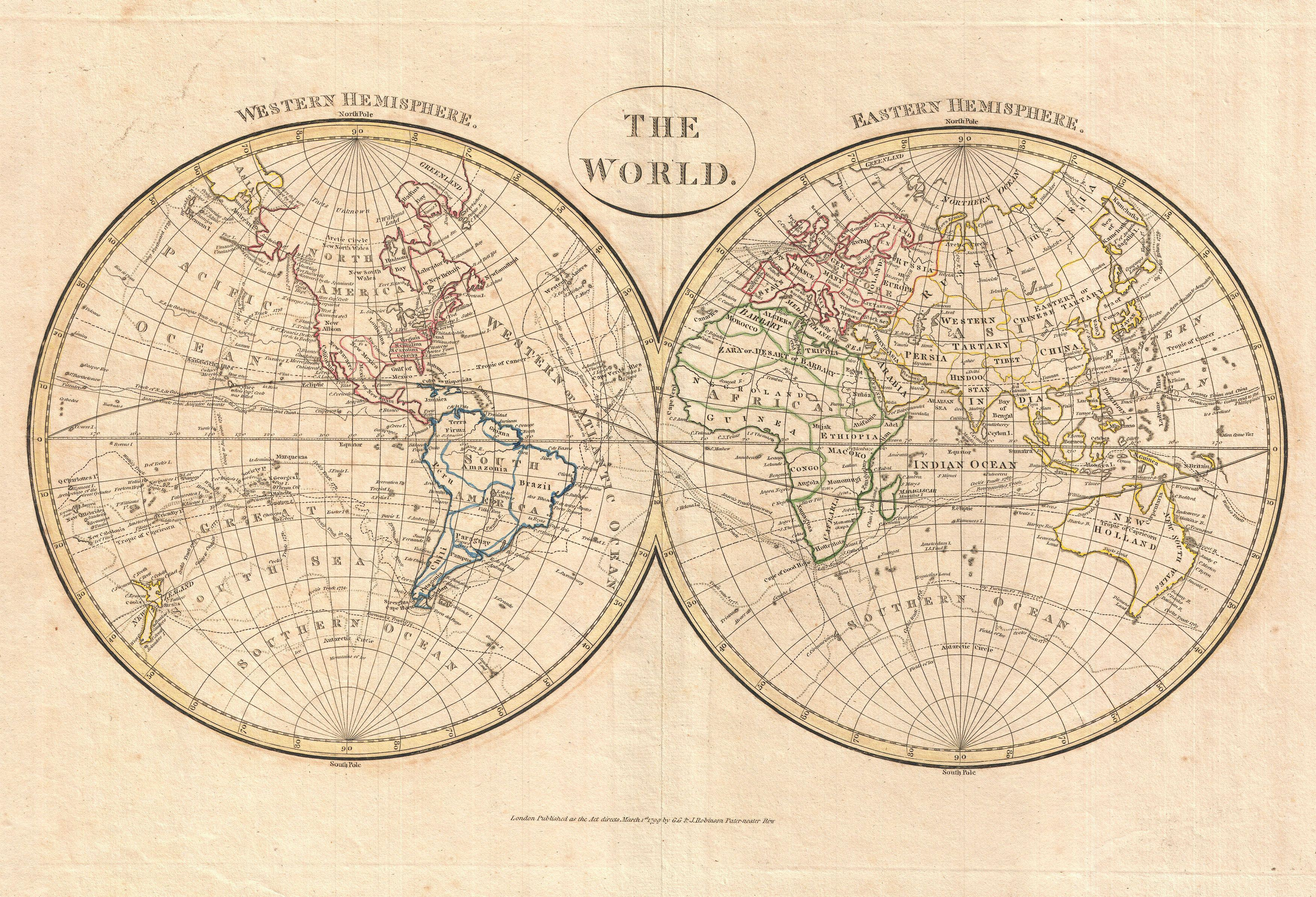File:1799 Cruttwell Map of the World in Hemispheres - Geographicus ... WORLD HEMISPHERE MAP