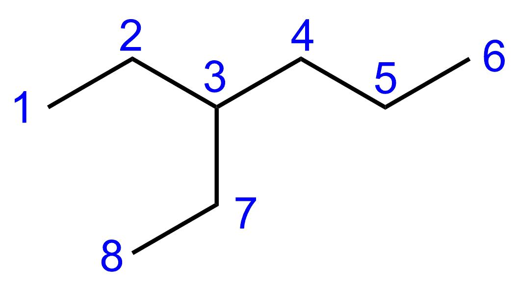 3-Ethylhexan mit Nummerierung der Kohlenstoffatome