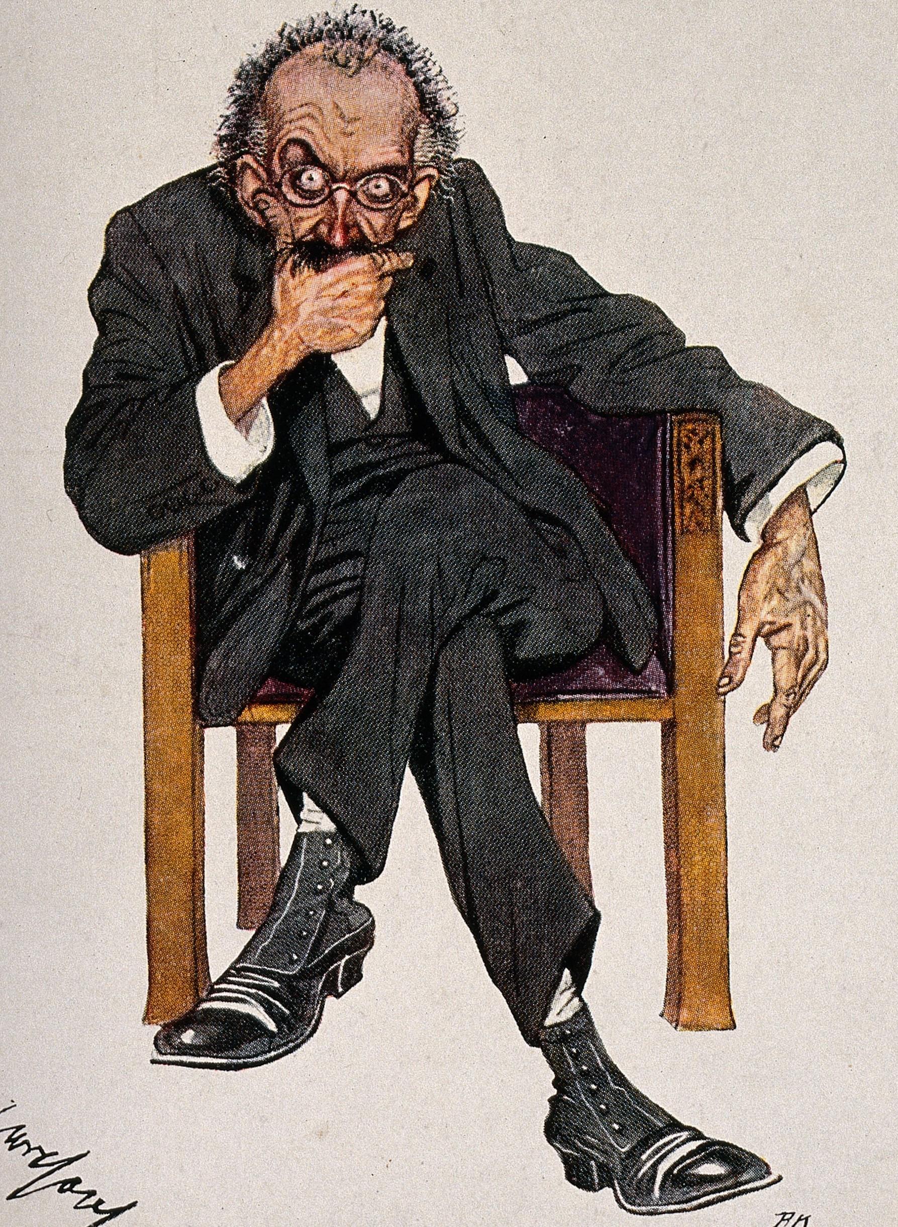 Filea Psychiatrist With Intense Bulging Eyes Colour Process Pr