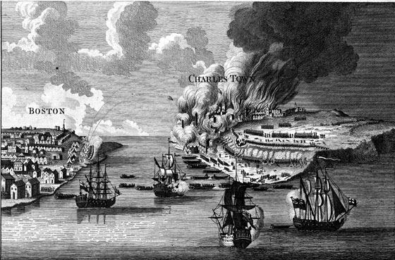 View of the Attack on Bunker's Hill with the Burning of Charlestown.  Engraving, 1783