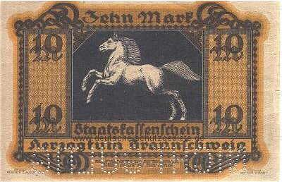 ブランズウィック銀行券(州の現金登録簿、緊急資金)、10マーク