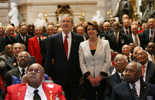 President George W. Bush and Pelosi honor 300 Tuskegee Airmen at the Capitol building, March 2007