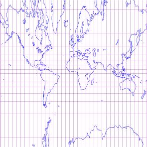 Mapa realizado mediante proyección cilíndrica