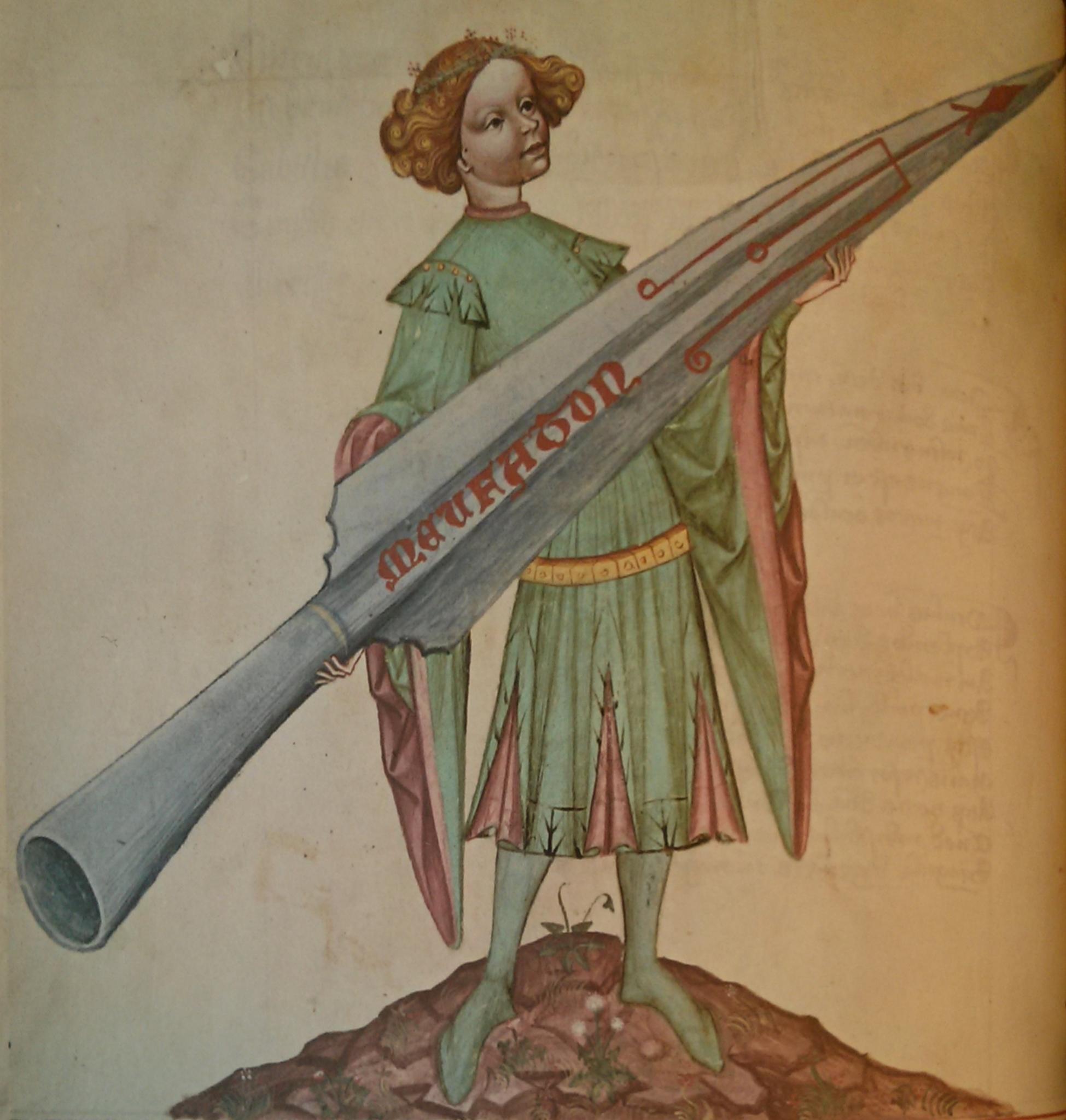 Fusée de guerre [XIVe-XVe] Conrad_Kyeser%27s_Bellifortis_c_1405_fig_1