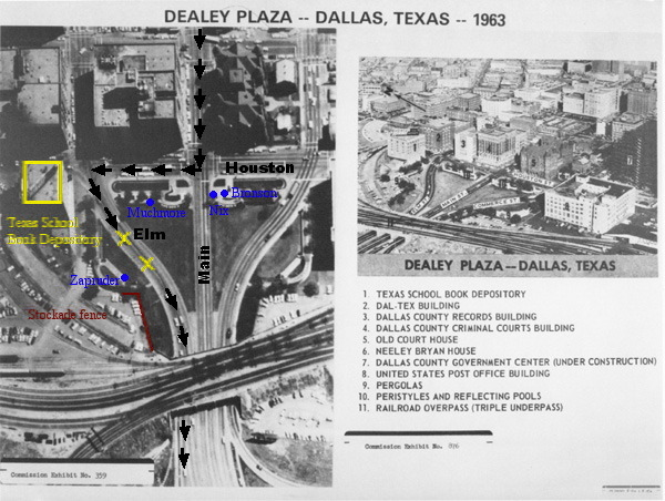 Dealey Plaza showing the route of President Kennedy's motorcade