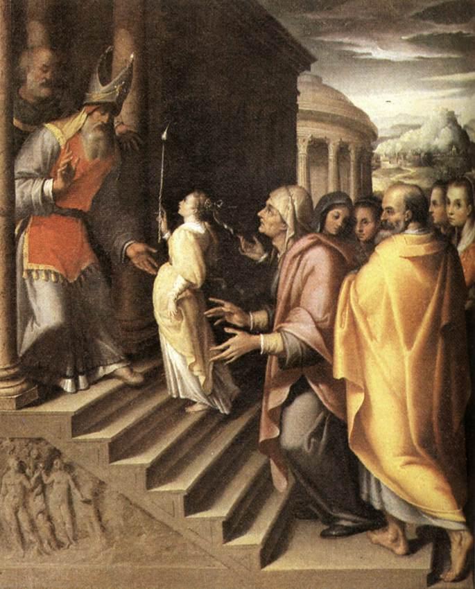 cf03edbb0 تقدمة العذراء للهيكل وفقًا لرواية إنجيل يعقوب، اللوحة لدنيس كالفرت، القرن  السادس عشر.