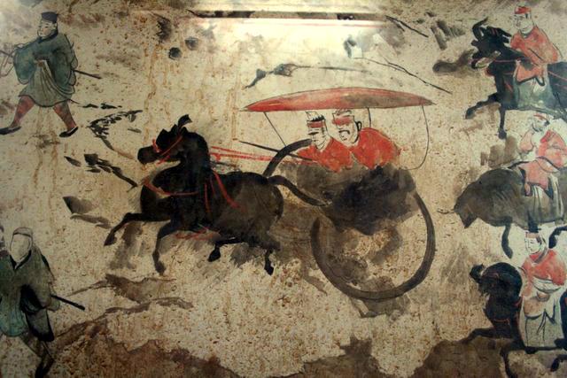 Eastern Han Dynasty tomb fresco of chariots, horses, and men, Luoyang 2.jpg