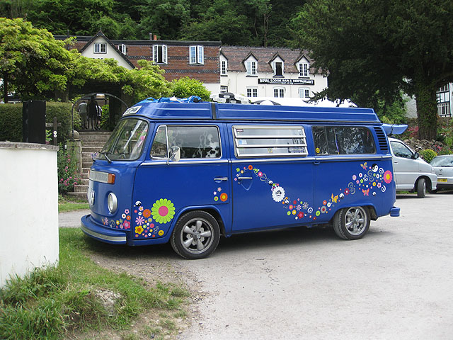 Flowery VW Camper - geograph.org.uk - 1356794
