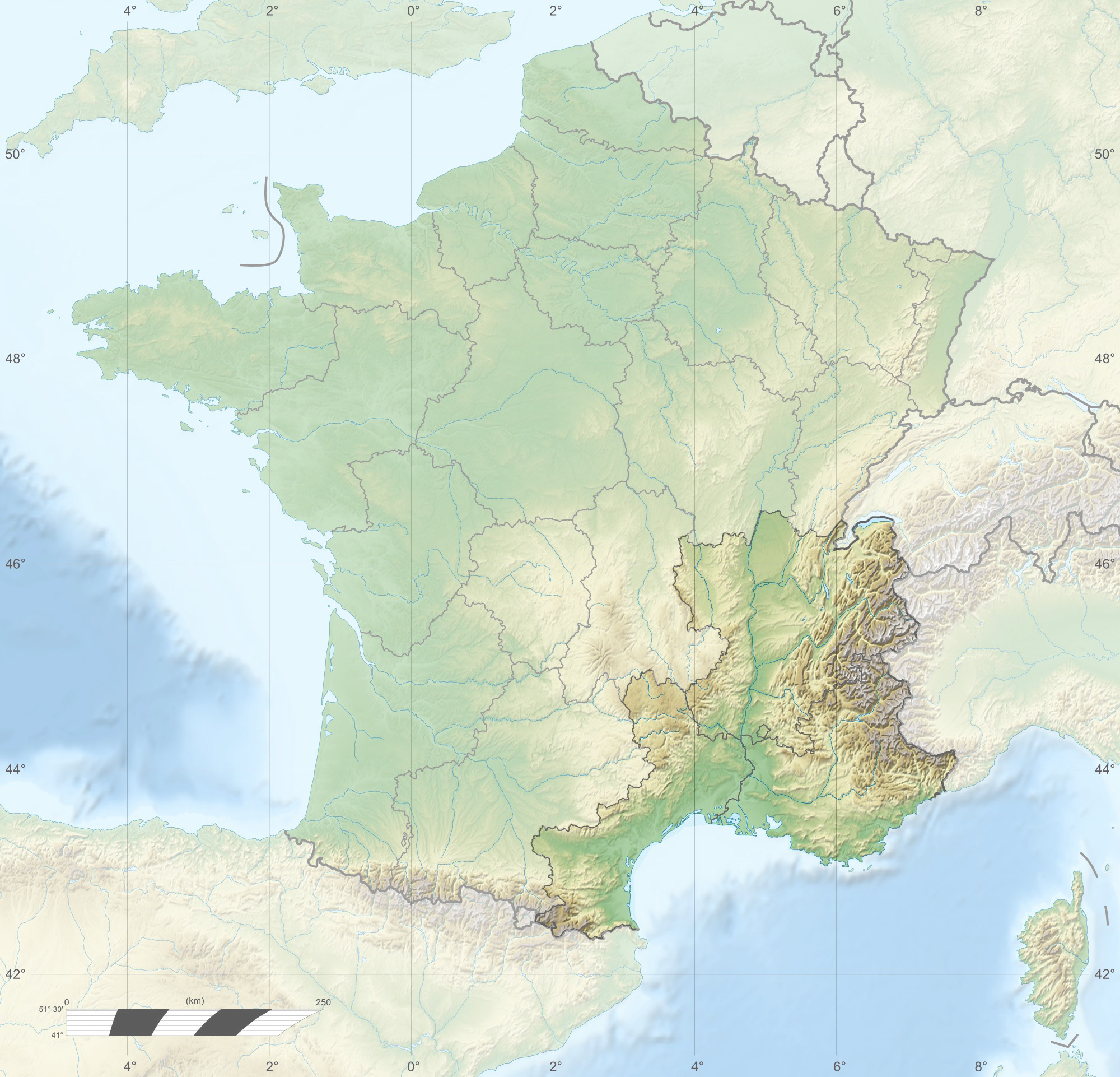 FileFrance relief location map South East highlightedpng