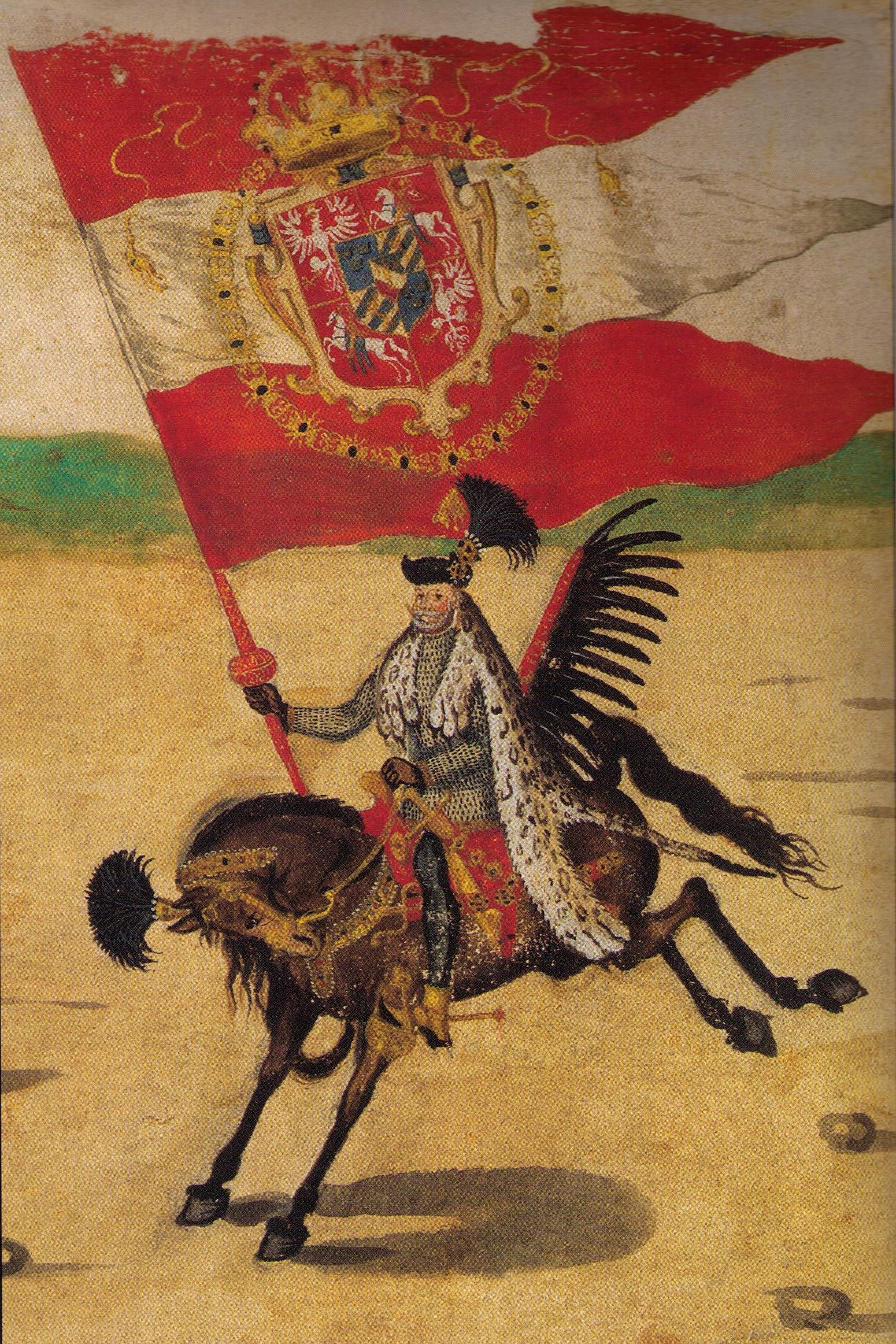 Grand Standard Bearer of the Polish Crown (Chorąży Wielki Koronny), Sebastian Sobieski, at the wedding procession of King Sigismund III of Poland and Sweden, as painted anonymously on the Stockholm Roll (c. 1605).