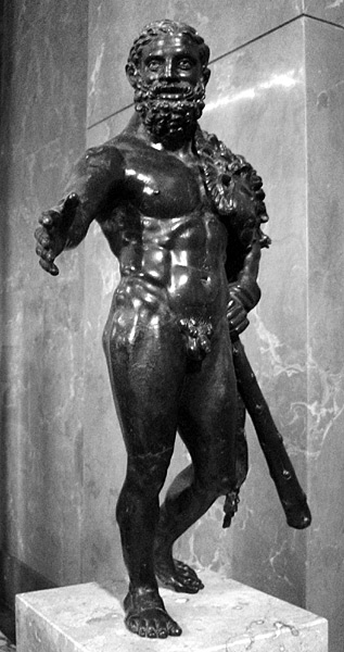 A short Heracles: Pindar once ignored the traditional image of Heracles, the supreme example of the heroic physique, and described him as short in order to compare him with a short patron. Heracles.jpg