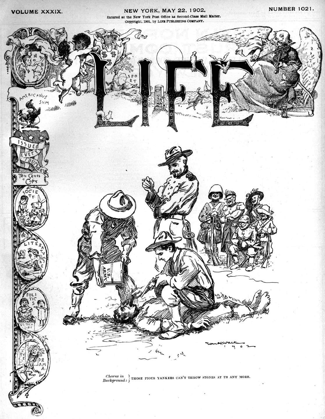 Cartoon on the May 22, 1902 cover of Life magazine depicting American application of the water cure while Europeans watch. The caption reads:
