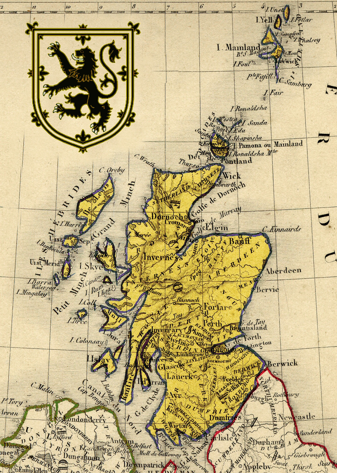 Map of Scotland with the Royal Coat of Arms - by Marie Stockholm