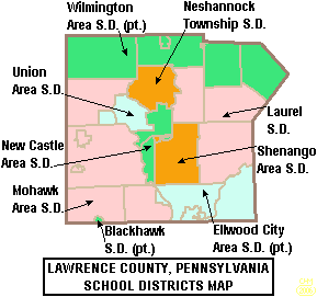Map of Lawrence County Pennsylvania School Districts.png