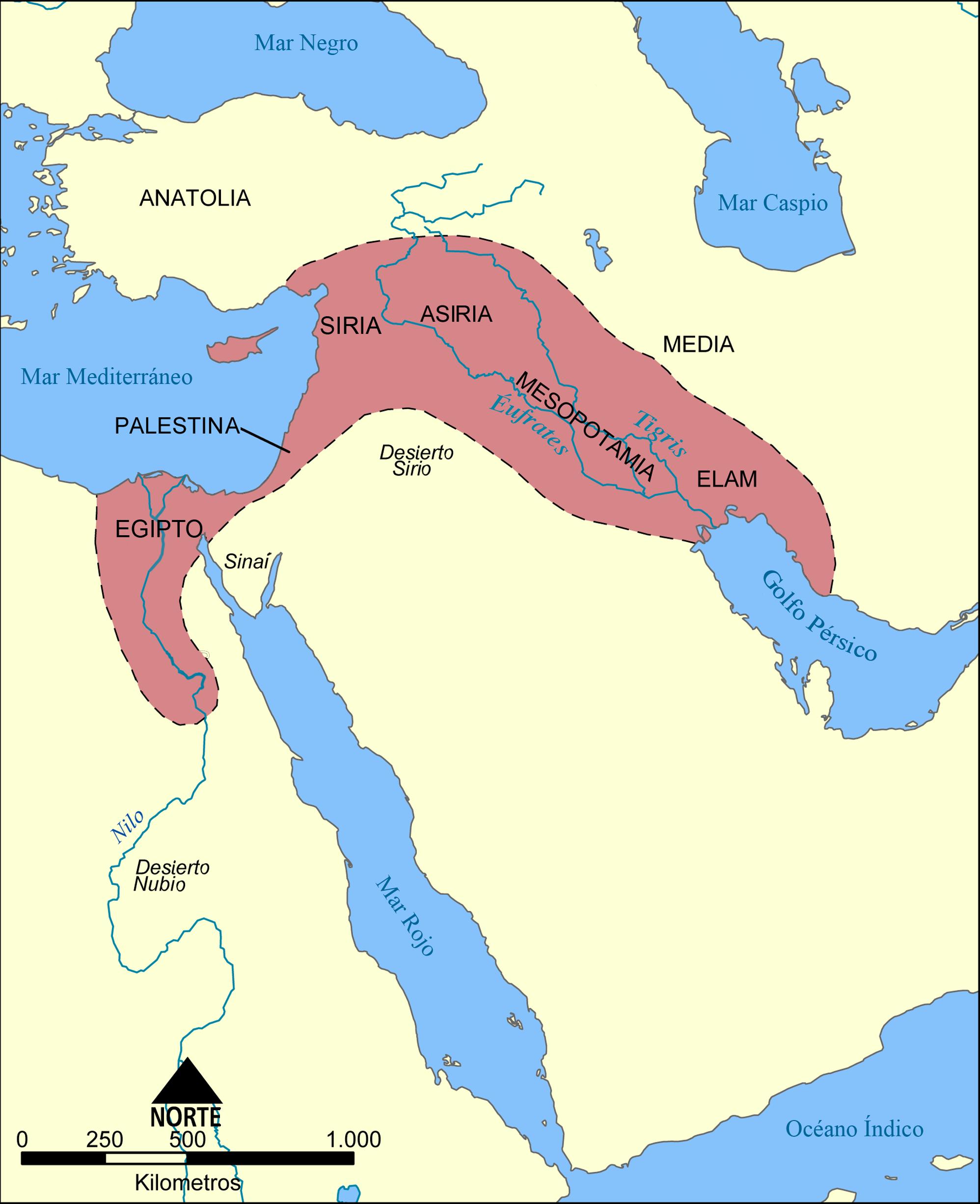 Mapa De Oriente Medio El Creciente Fertil.Archivo Mapa Del Creciente Fertil Png Wikipedia La