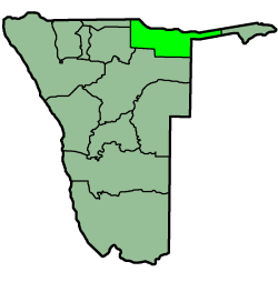 Location of the Kavango Region in Namibia