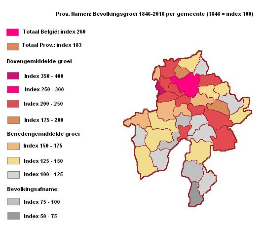Provincie Namen: Bevolkingsgroei per gemeente periode 1846-2016