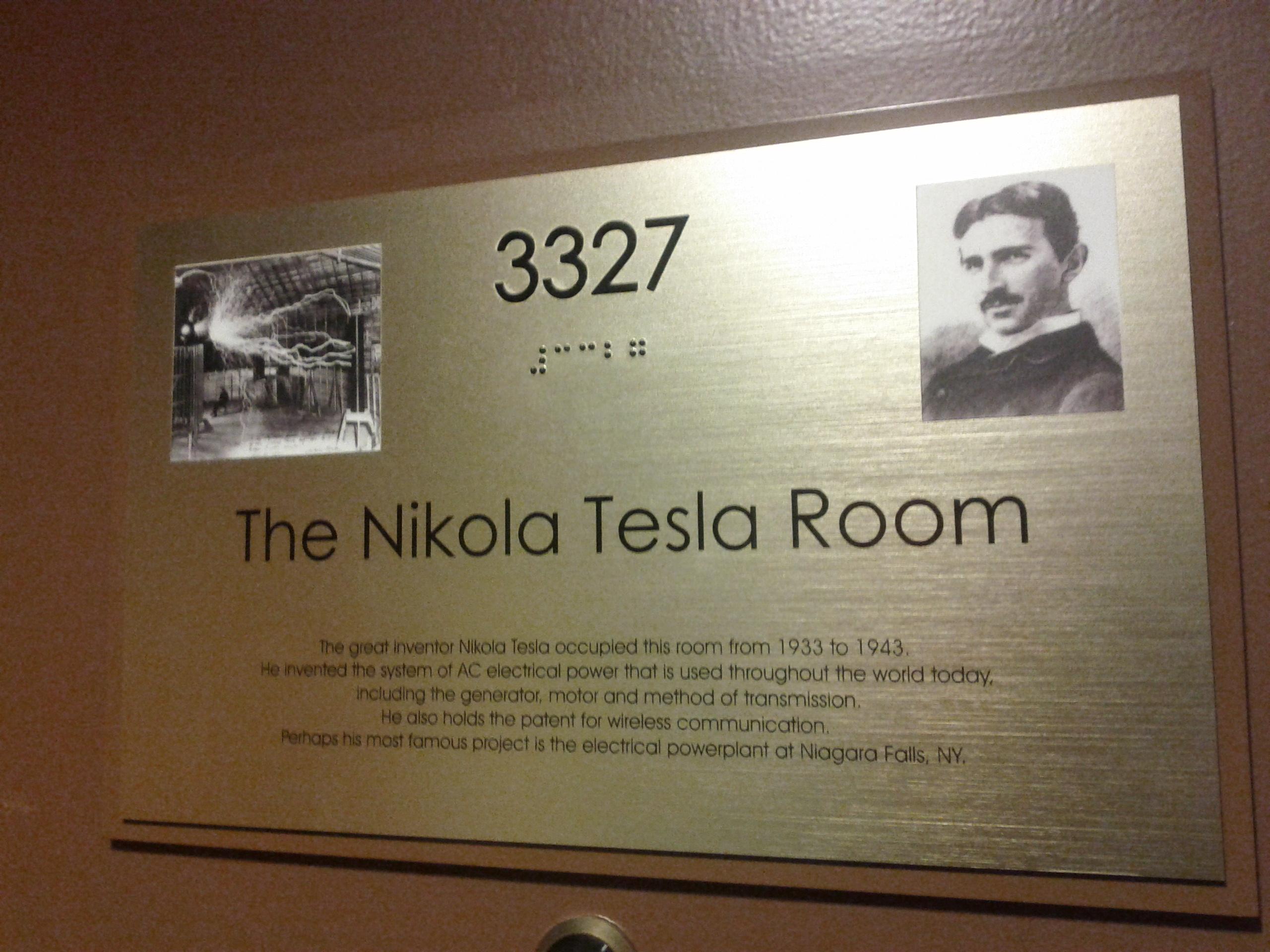 File New Yorker Hotel Nikola Tesla Apartment Door 3327
