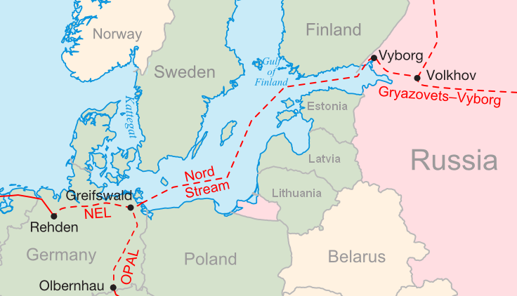 English: Map of the proposed Nord Stream and c...