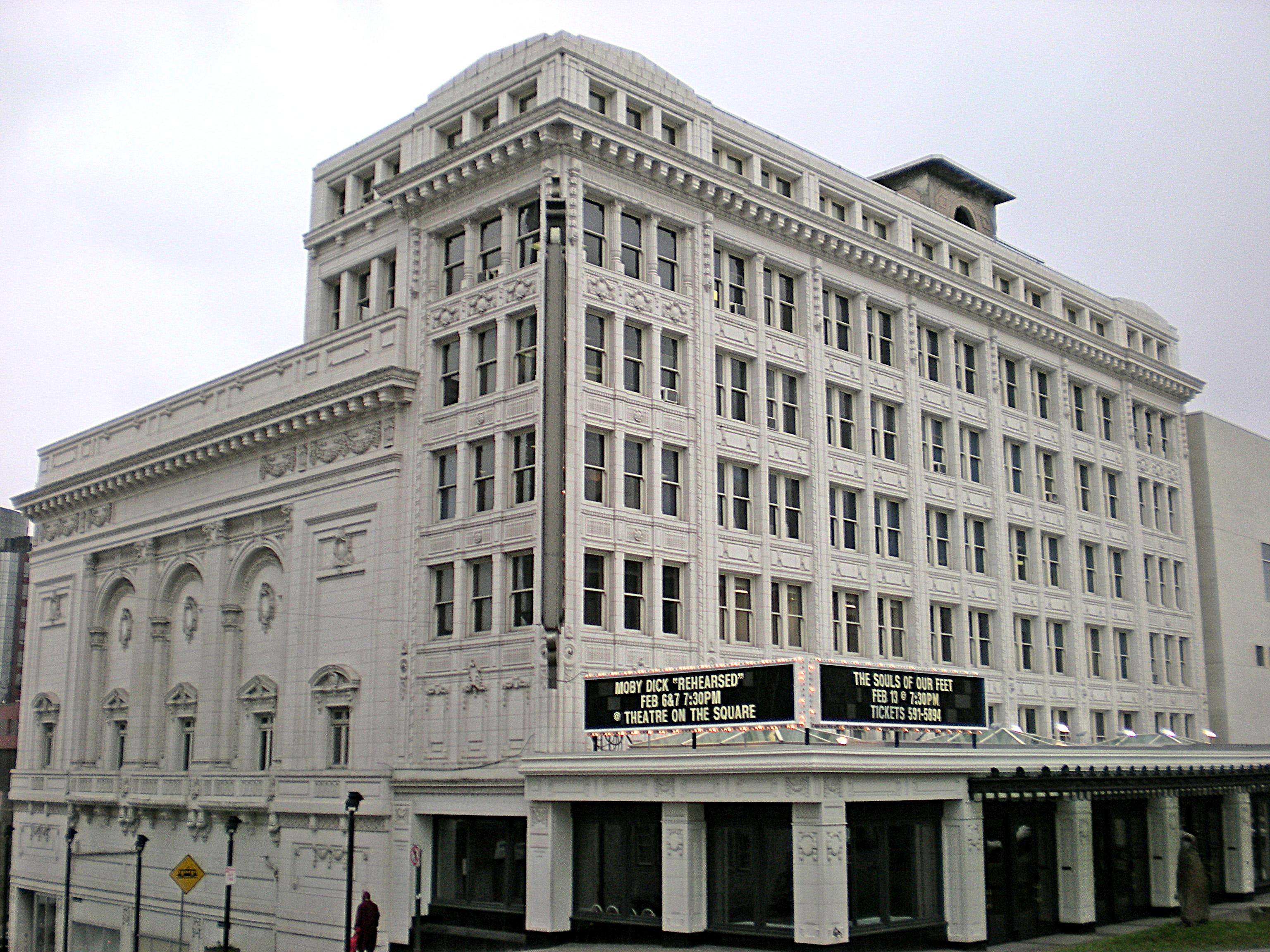 White terra cotta facade of the Pantages Theatre