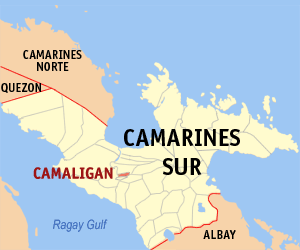 Map of Camarines Sur showing the location of Camaligan