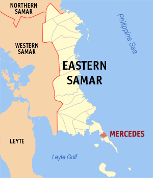 Map of Eastern Samar showing the location of Mercedes