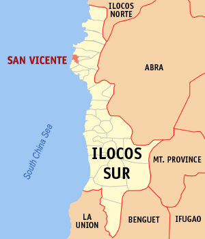 Map of Ilocos Sur showing the location of San Vicente