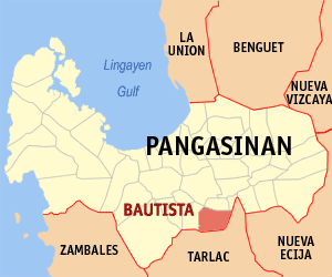 Map of Pangasinan showing the location of Bautista
