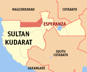 Map of Sultan Kudarat showing the location of Esperanza