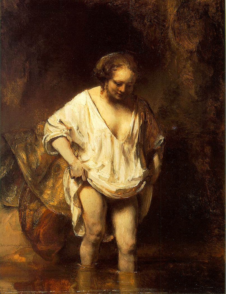 Image result for Rembrandt van Rijn,  A Woman Bathing in a Stream,