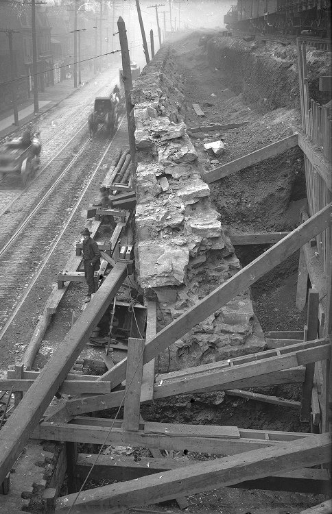 Replacing Baltimore and Ohio Railroad Retaining Wall, 1906.jpg