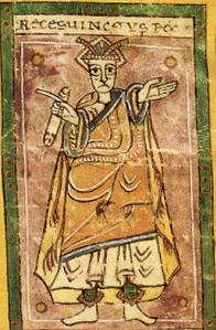 Miniatura que representa al rey Recesvinto de la Crónica albeldense.