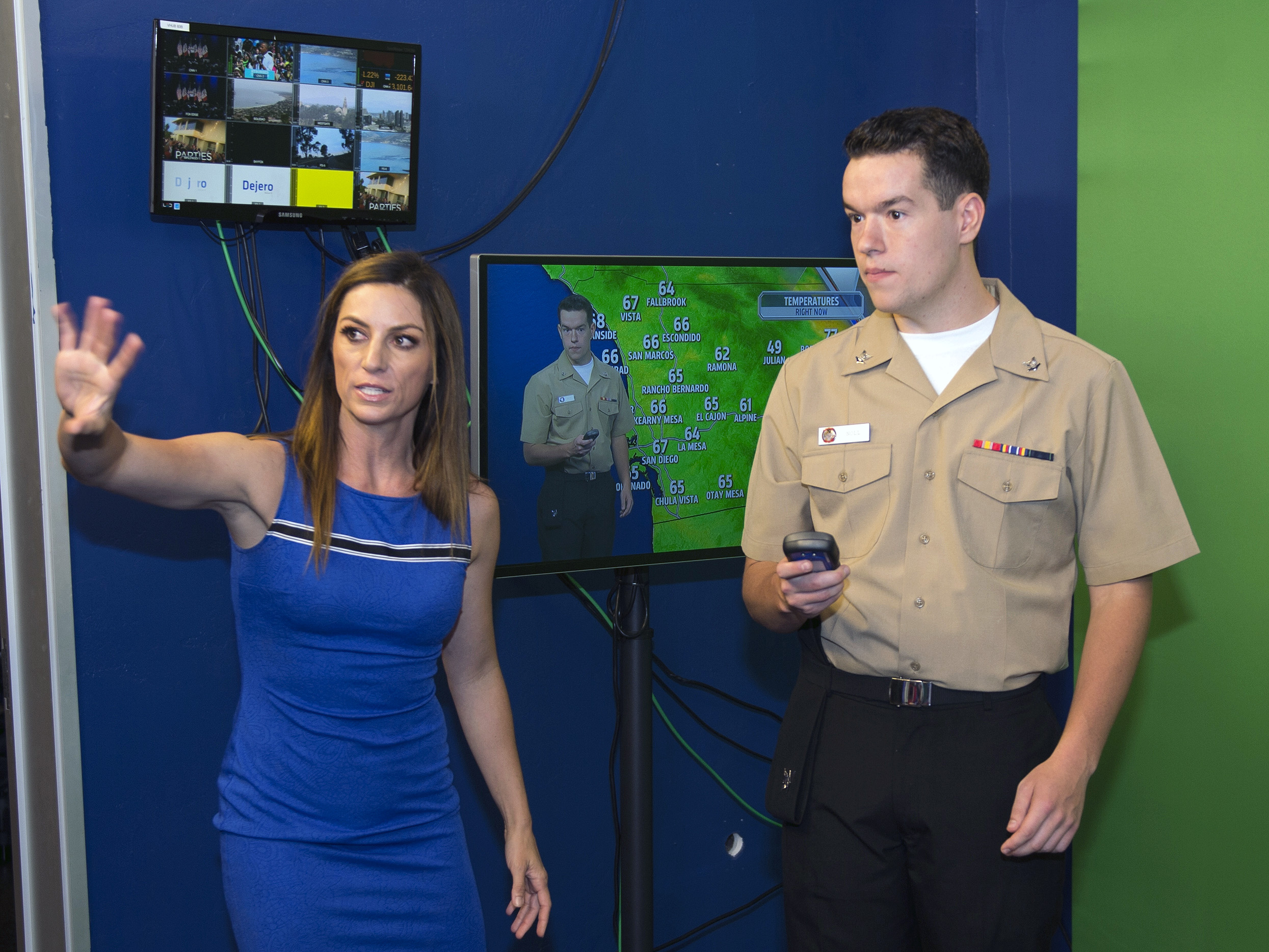 File:Sailor takes direction from a Fox Five weather anchor