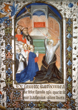Saint Catherine of Siena receiving the stigmata. Book of Hours (ca. 1440 ca.), Paris Bibliothèque Nationale, MS lat. 10533